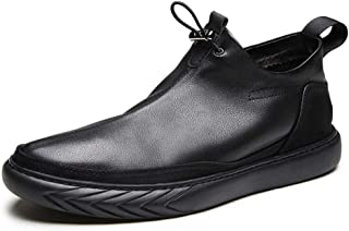 Happy-L Shoes, Lightweight Chelsea Boot for Men Ankle Shoes Pull on Style Solid Color Drawstring&Side Zipper Genuine Leather Flat PU Lined Round Toe