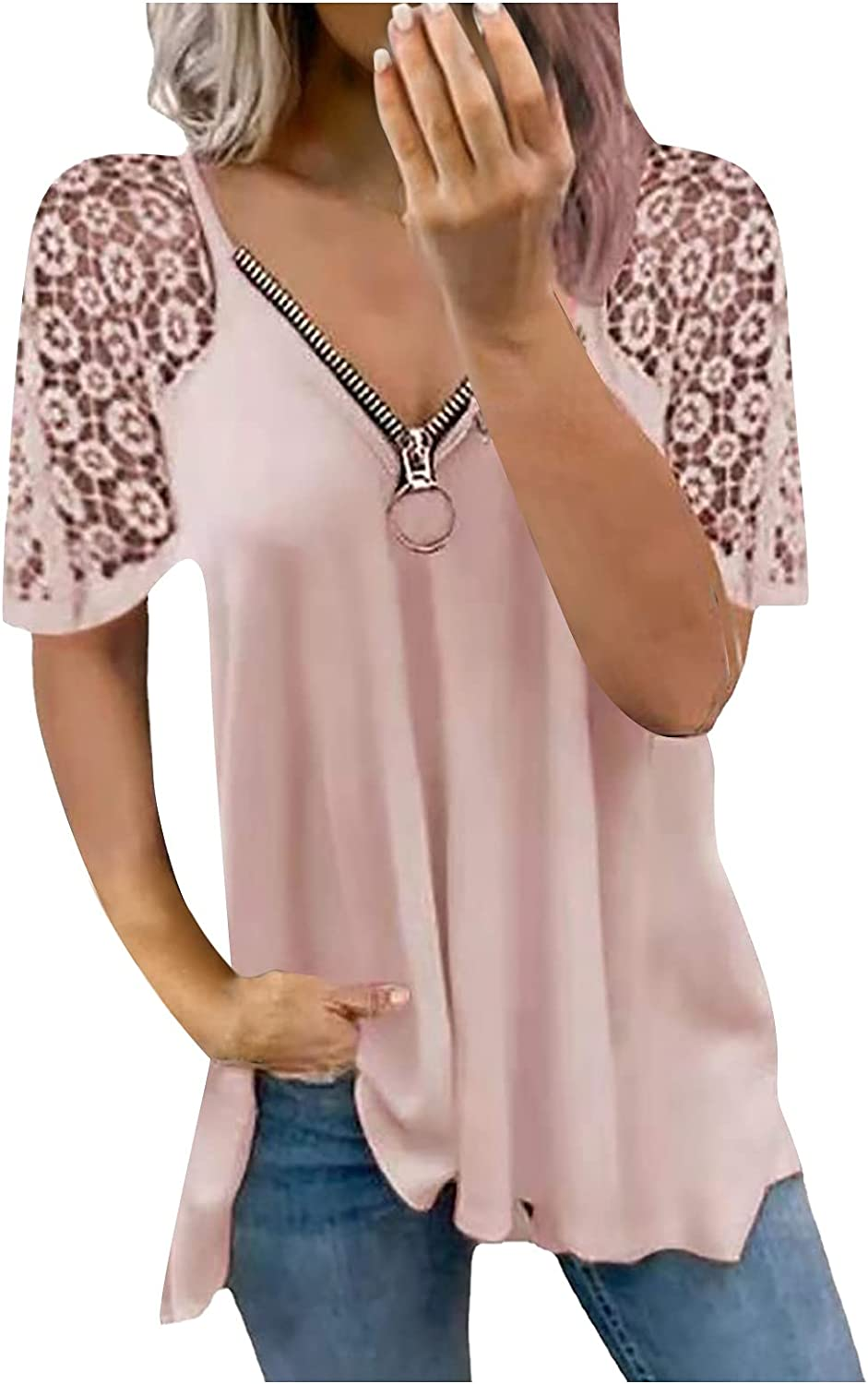ORT Tee Shirts for Women Loose Fit, Flower Printed O-Neck Short Sleeve Casual Tunic Blouse Tops Fashion Tee Shirts