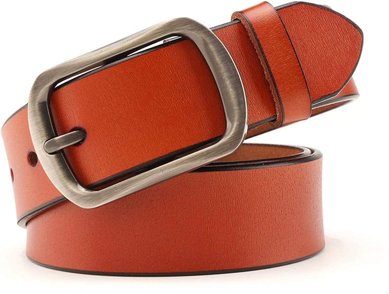 Canvas Belt Women's Belt Leather Belt Casual Cowboy Cowhide Leather Back Belt (color   Brown, Size   105cm)