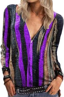 GUOCAI Women Zip-Up Tops Stripe Long Sleeve V-Neck Tie Dye Blouse T Shirts