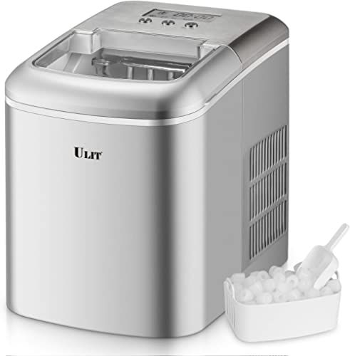 ULIT Portable Ice Maker with LED Display,Ice Maker Machine for Countertop, Self-Cleaning Function,Make 26 lbs Ice in ...