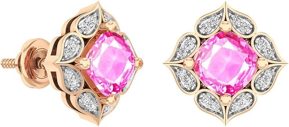 Dazzlingrock Collection 14K Each 6 MM Cushion Lab Created Gemstone & Round Diamond Ladies Stud Earrings, Rose Gold