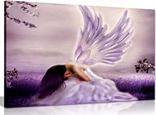 Angel Fantasy Weeping Canvas Wall Art Picture Print (12x8in)