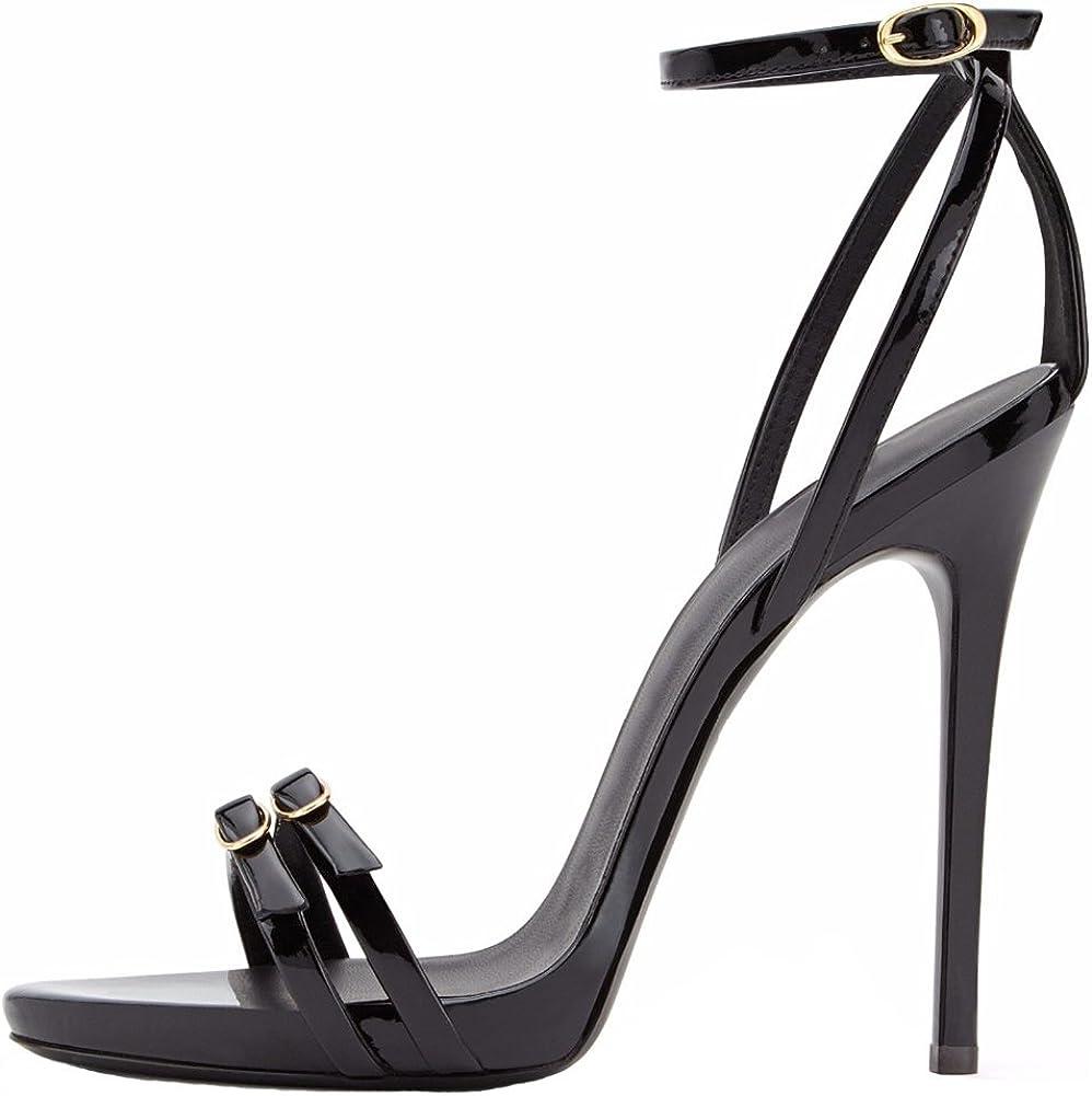 Amy Q Women's Black Open Toe Heel Ankle Sandals High Strap Alternative OFFicial shop dealer