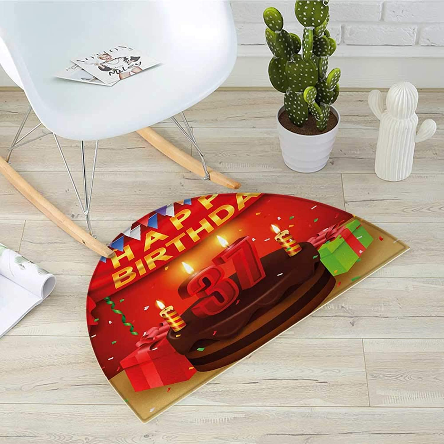 37th Birthday Half Round Door mats Chocolate Cake Gifts Balloons Flag Cute Icons Candles Artsy Design Image Bathroom Mat H 39.3  xD 59  Multicolor