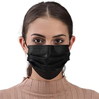 Face Mask 50pcs Black Disposable Masks Breathable 3 Layer Dust Safety Mask Mouth Cover with Elastic Ear Loop for Adult Men & Women