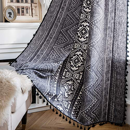 ColorBird Geometric Semi-Blackout Window Curtains 2 Panels Tribal Style Cotton Linen Darkening Curtains with Black Bordered Tassel Rod Pocket Window Drapes for Living Bedroom, 59W x 84L Inch, 1 Pair