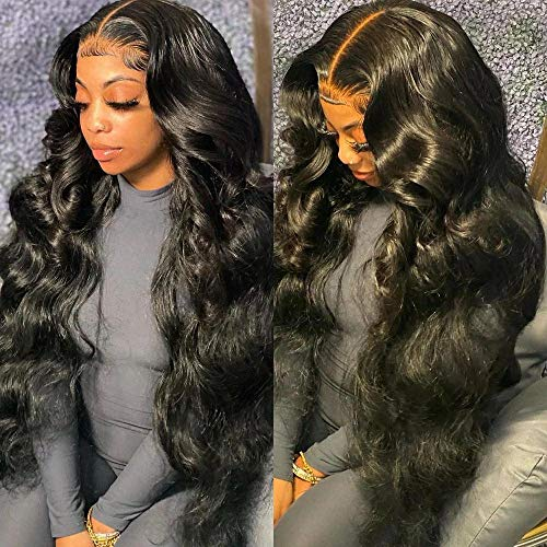 Body Wave Lace Front Wigs Human Hair Middle T Part Lace Wig with Baby Hair For Black Women 150% Density Brazilian Virgin Body Wave Long wig with Baby Hair Natural Color 26 inch