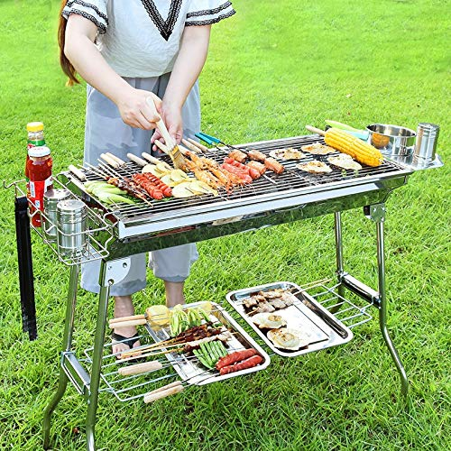 61qV El7L2L. SL500  - YDHWT Bewegliche Faltbare Edelstahl Grill for Outdoor-Holzkohlegrill Grill Barbecue-Tools
