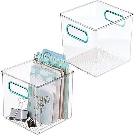 mDesign boite stockage pour la cuisine, salle de bain, bureau (lot de 2) – boite rangement en plastique avec poignées intégrées – boite plastique pour stocker des fournitures – transparent/bleu