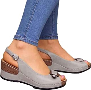 Women Fashion Sandals Wedges Orthopedic Open Toe Sandals Non-slip Leather Comfortable Fish Mouth Sandals Trendy Summer Shoes