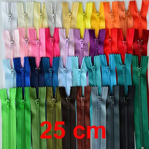 Cremalleras de 25 cm, 39 unidades, no divisibles, en 39 colores