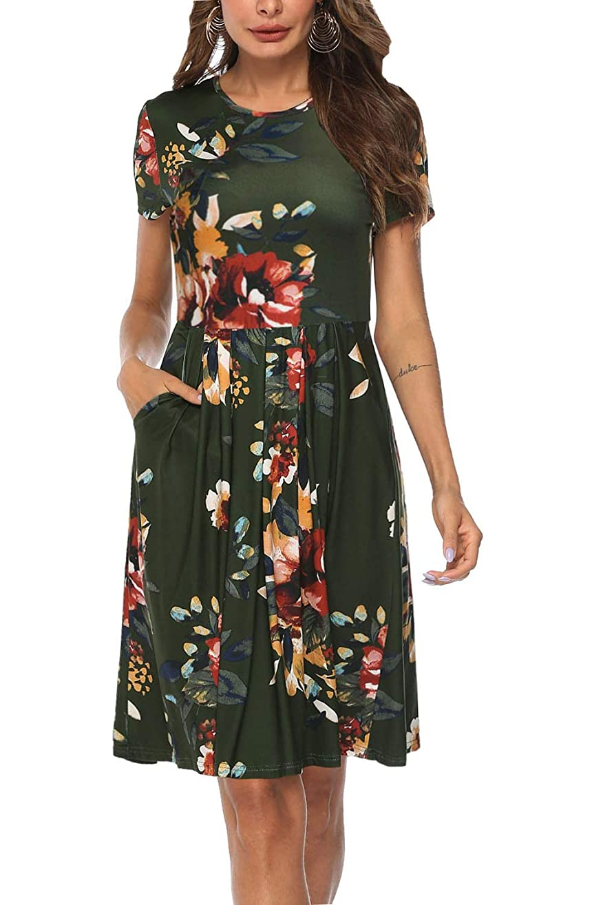 Kranda Women Long/Short Sleeves Round Neck Pleated Loose Swing Floral Midi Dress with Pockets