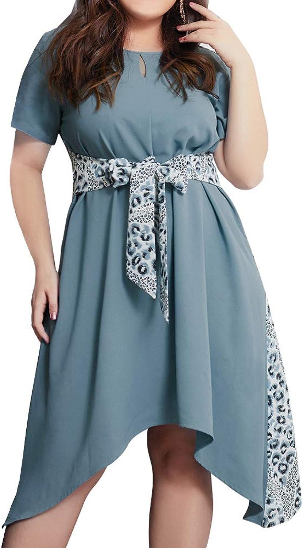 Summer Dress Leopard Print Fight Waist Tie Irregular Large Swing Short Sleeve Long Skirt Large Size Casual Women
