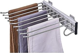 XYL Porte-Pantalons Coulissant pour Garde-Robe, Rail Coulissant Extensible de Rangement de Jeans d'écharpe de Placard, Por...