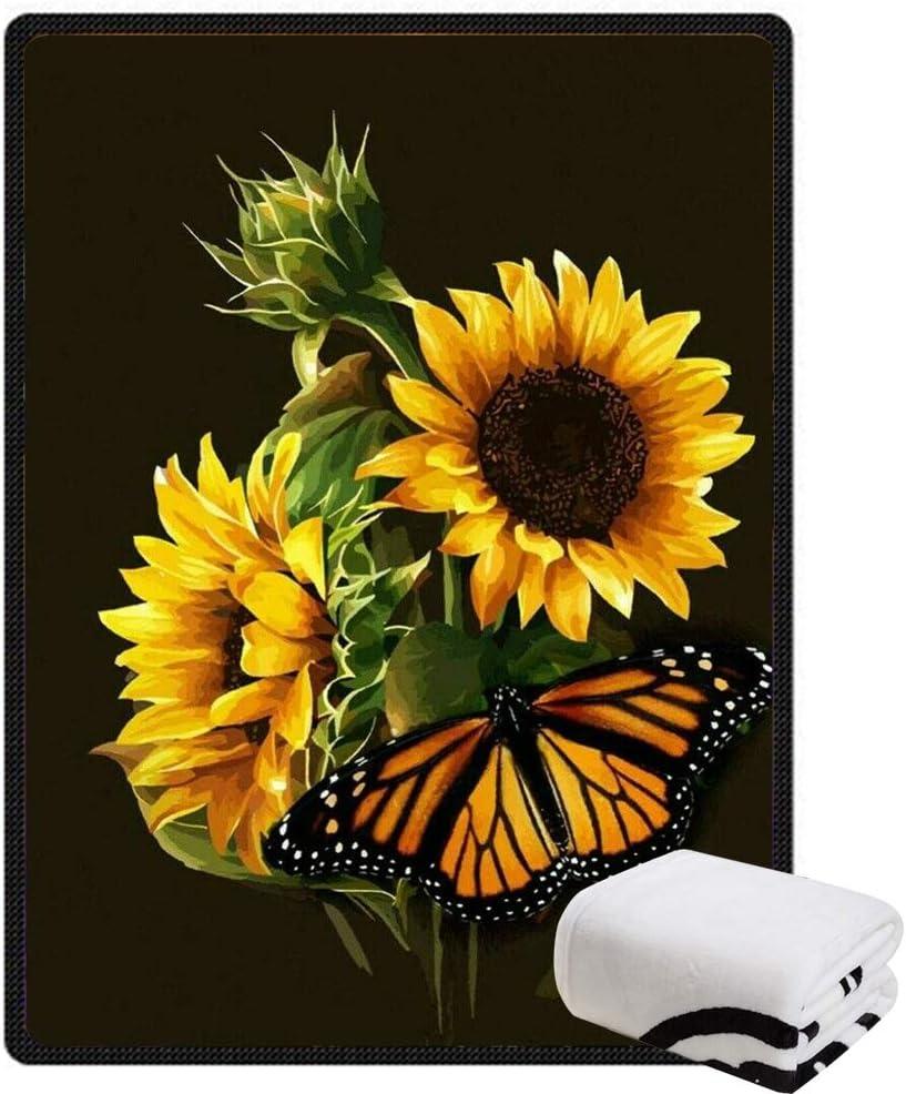 Morebee Sunflower Butterfly Fleece Throw Design Custom Blanket half S 2021 spring and summer new