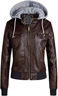 Women Slim Leather Jacket Coat ❀ Ladies Removable Zipper Short Coats Outwear with Caps Outdoor Walking Sport Coat