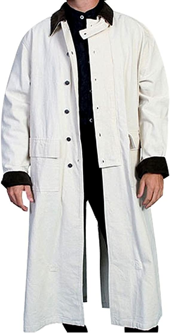 Victorian Men's Costumes: Mad Hatter, Rhet Butler, Willy Wonka Rangewear By Scully Mens Long Canvas Duster  AT vintagedancer.com