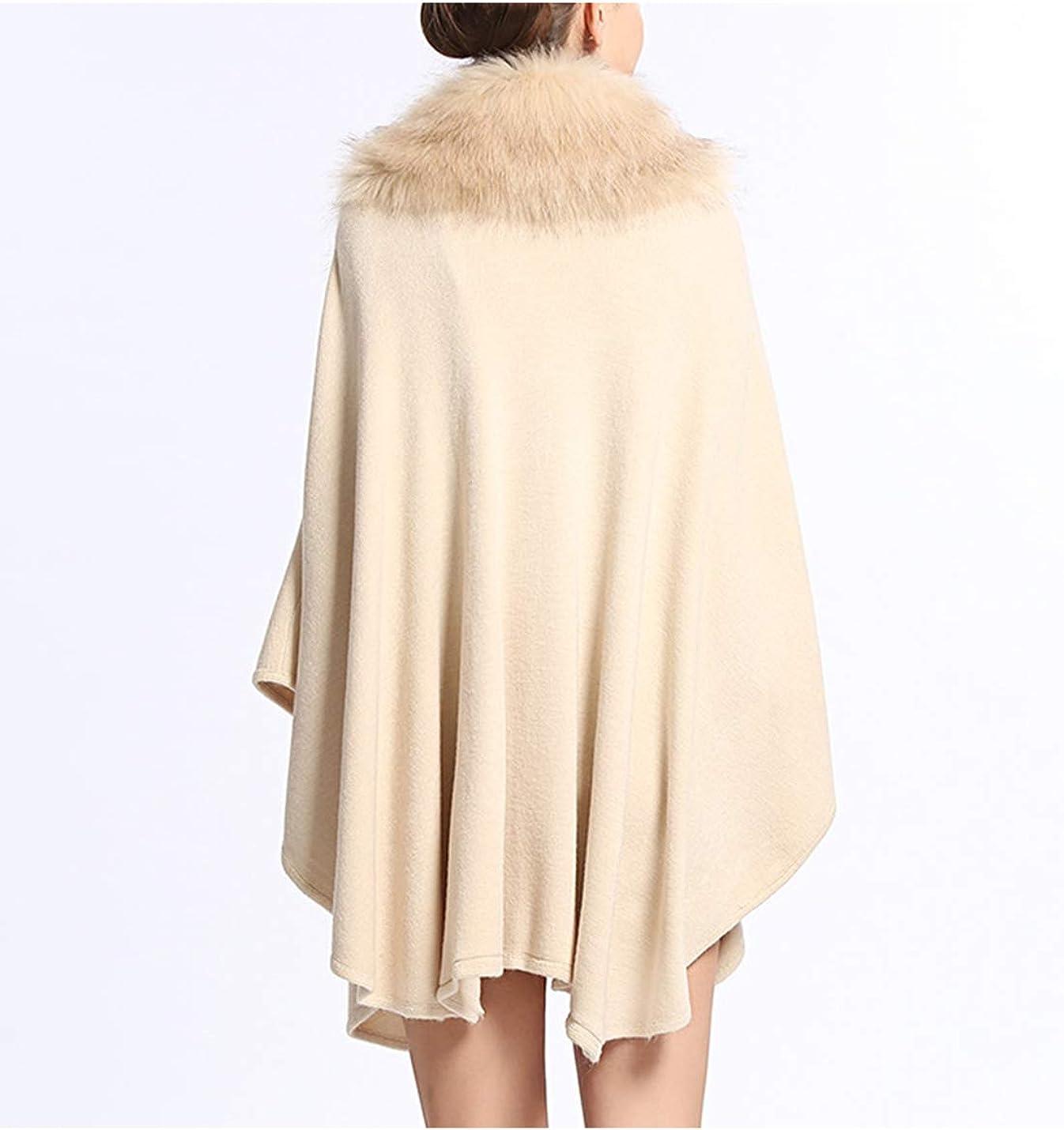 Gihuo Women's Warm Faux Fur Cape Coat Cloak Poncho