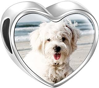 Charm de Foto Personalizsdos Plata de Ley Abalorio para Pulsera o Collar en Forma de Corazón Huella de Bebe para Pulsera Europea