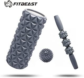 FitBeast Set de Rouleaux de Mousse 2 en 1 pour Le Massage Musculaire des Tissus..