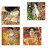 Legendarte Cuadro Lienzo, Impresión Digital - Pinturas Klimt - Composición 2, cm. 50x50 (4 Paneles) - Decoración Pared