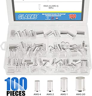 Glarks 100Pcs AWG 4 2 1 2/0 Wire Copper Crimp Connector Silver Plated Non Insulated Ferrules Pin Cord End Terminal Assortment Kit