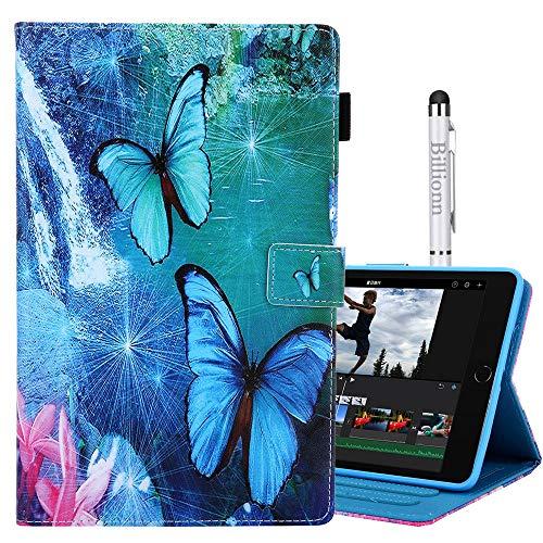 Capa Billionn para Amazon Fire HD 8 (Universal para 8ª Geração/7ª Geração/6ª Geração, Versão 2018/2017/2016) Suporte interno de TPU (poliuretano termoplástico) macio e fino despertar/hibernar, borboleta azul