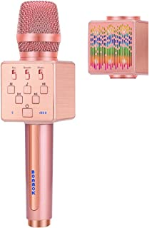 BONAOK 2019 Upgraded Wireless Bluetooth Karaoke Microphone with Controllable LED Light, Portable Rechargeable Karaoke Speaker Machine for Christmas/New Year/Party/Home/Birthday(Rose Gold))