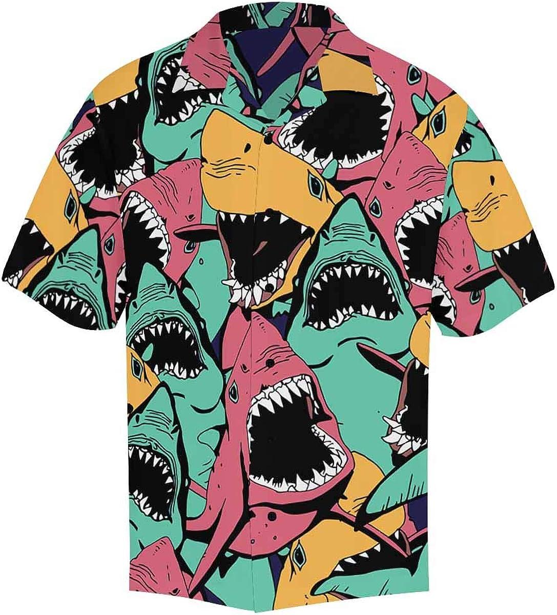 InterestPrint Men's Casual Button Down Short Sleeve Colorful Angry Shark Hawaiian Shirt (S-5XL)