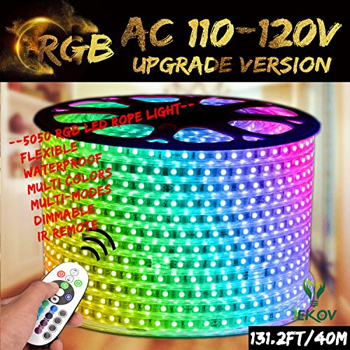 RGB LED Strip Light, IEKOV AC 110-120V Flexible/Waterproof/Multi Colors/Multi-Modes Function/Dimmable SMD5050 LED Rope Light with Remote for Home/Office/Building Decoration (131.2ft/40m)