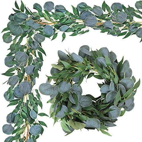 2 Pack Greenery Garland Artificial Silver Dollar Eucalyptus Leaves and Willow Leaves Garland Hanging Vine Garland for Wedding Holiday Party Wall Centerpiece Indoor Outdoor All Year Round Decoration