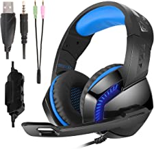 Phoinikas Gaming Headset with 3.5mm Plug Noise Cancelling Mic for PS4, Xbox One,Nintendo Switch PC Mac,Surround Sound Over-Ear Headphones with LED Light,Volume Control,Soft Memory Earmuff,218mm Cable