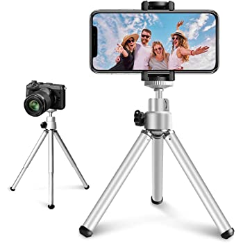 Mini Tripod for Cell Phone, 6 Inch Extendable Phone Tripod Stand Holder for Live Broadcast and Selfie, Compatible with All Phones/DSLR Camera