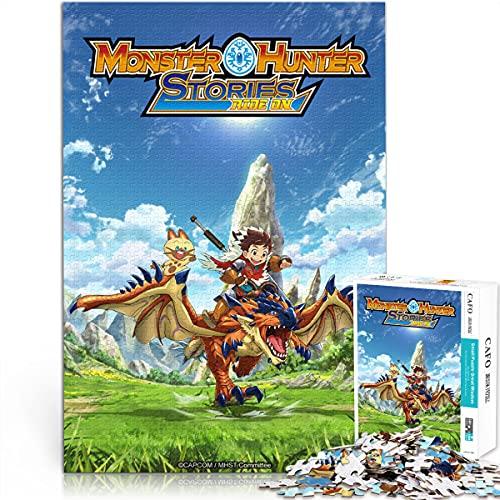 YLAXX Monster Hunter Stories: Ride On Adult Puzzle 1000 Piezas Juego de Cerebro 1000 Piezas Anime Puzzle Regalos creativos para Amigos 38x26cm