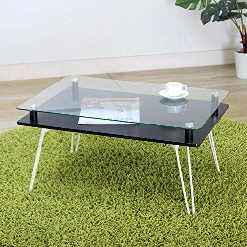 不二貿易 折りたたみ ローテーブル 幅70cm ブラック 強化ガラス クラリス 87769