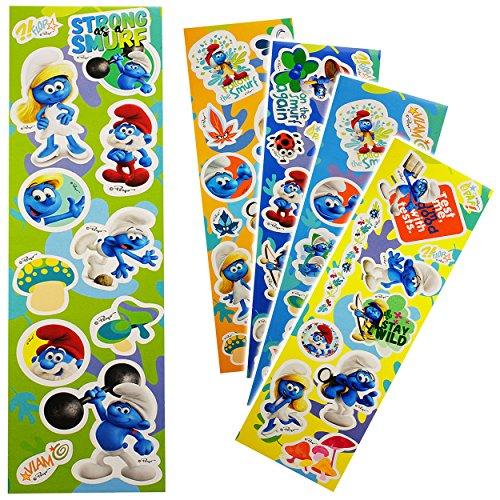 alles-meine.de GmbH 5 * 60 Stück - XXL Set - Aufkleber / Sticker -  die Schlümpfe / Schlumpf  - wiederverwendbar - selbstklebend / beschichtet & wasserabweisend - Wandsticker /..