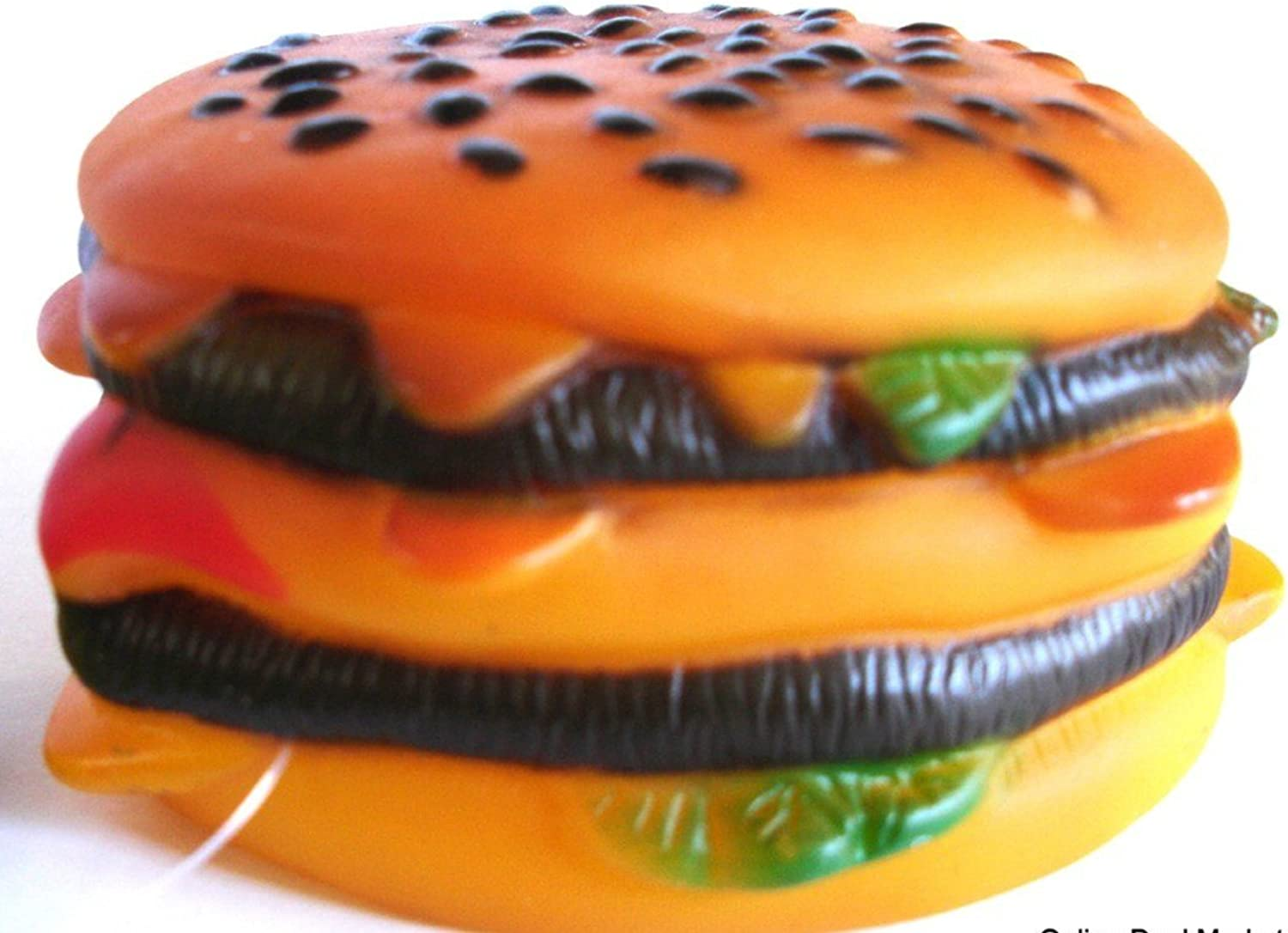 DOG TOY SQUEAKY Burger Pet Cheeseburger Food Vinyl BRAND NEW