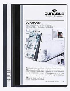 Durable 257901 Duraplus Chemise de Présentation à Lamelles Couverture PersonnaliSable A4+ Noir Lot de 25