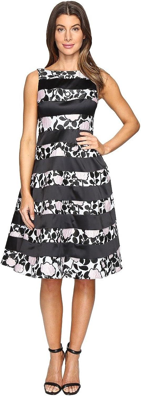 Adrianna Papell Women's Boatneck Fit & Flare Dress Light Pink Black Dress