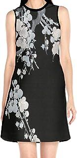 ブラックローズ 梅の花 ホワイト ブラック 花柄ワンピース ワンピース レディース カジュアル 夏物 夏服 スカート おしゃれ 洋服 ファッション 流行る