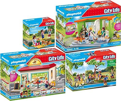 PLAYMOBIL City Life 70540 70541 70542 70543 - Tienda de hamburguesas, práctica pediatral, parque urbano y picnic en el parque