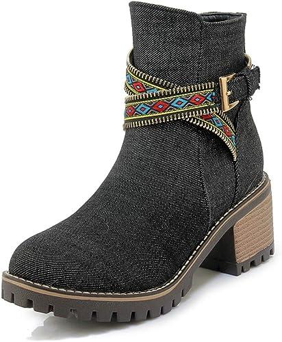 HOESCZS Plus Tailles 34-43 Denim Talon Carré Chaussures d'hiver Femme Bottes Ouest Bottes De Mode Cheville Bottes Femme Chaussures