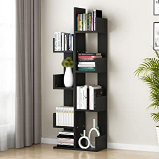 Tribesigns 8-Shelf Tree Bookshelf, Modern Bookcase Book Rack Display Storage Organizer Shelves for CDs, Records, Books, Home Office Deco (Black)