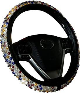 XiXiHao New Diamond Leather Steering Wheel Cover with Bling Bling Crystal Rhinestones, Universal Fit 15 Inch Anti-Slip Wheel Protector for Women Girls (Rainbow)
