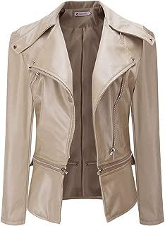 HGWXX7 Women's PU Leather Turn-Down Collar Zipper Moto Biker Short Coat Parka Outwear Jackets