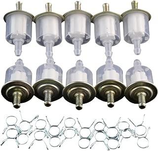 GOOFIT Filtro de combustible con abrazaderas de resorte Abrazaderas de gasolina para moto universal Scooter Dirt Bike Pack de 10 E034-330