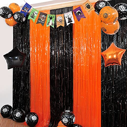 Orange Black Tinsel Foil Fringe Curtains Halloween Party Decorations 2 Pack Tinsel Curtain Photo Backdrop 12 Pcs Balloon Set for Birthday Christmas Wedding Engagement Anniversary Party