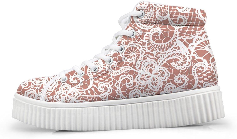 Classic Floral Print Hi Top Women Sneaker Lace Up Platform shoes US 6