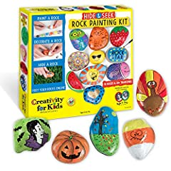 ROCK PAINTING KIT FOR KIDS: Spread kindness and positivity by painting and hiding rocks throughout your community for others to find. Just add imagination for endless creative fun! COMPLETE CRAFT KIT: 10 rocks for painting are included in this arts a...
